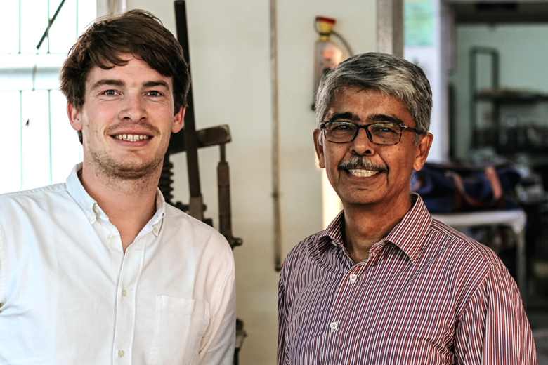 Gus Bartholomew, CEO of SupplyCompass and Sundar, Founder of leather factory