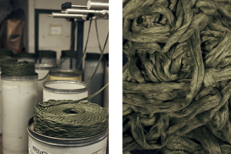 Upcycled Recover yarn being spun