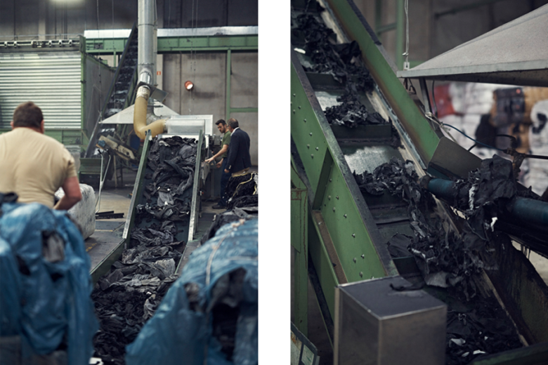 Textile waste being shredded and sorted