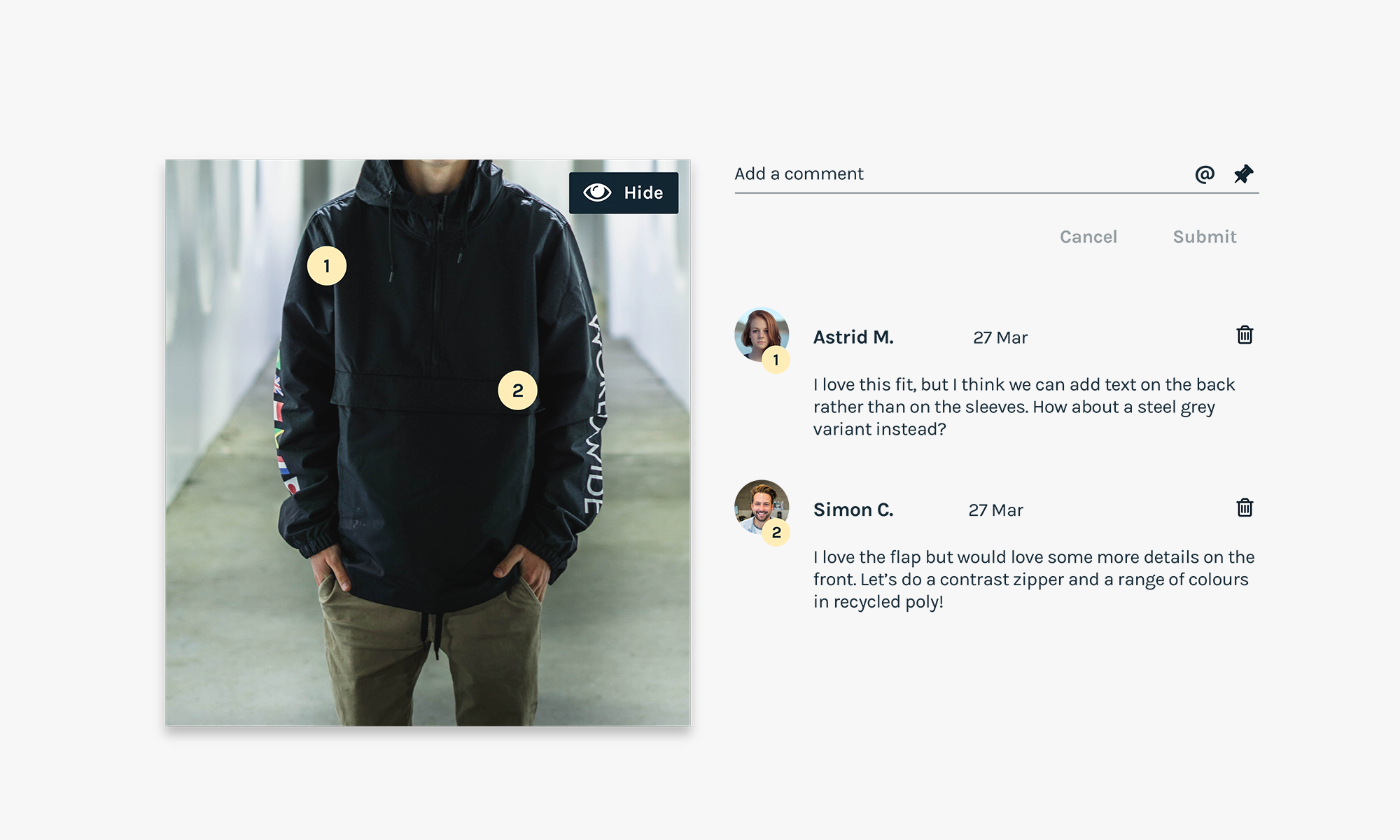 Annotation and comments from team members: SupplyCompass Fashion Moodboard Tool